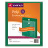Poly String & Button Envelope, 9 3/4 x 11 5/8 x 1 1/4, Green, 5/Pack