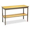 Utility Table with Bottom Shelf, Rectangular, 48w x 18d x 30h, Oak/Brown