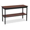 Utility Table with Bottom Shelf, Rectangular, 48w x 18d x 30h, Walnut/Black