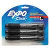 Click Dry Erase Markers, Chisel Tip, Black, 3/Pack