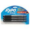 Click Dry Erase Markers, Fine Tip, Black, 3/Pack