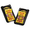 """Arrow Message 1"""" Page Flags, """"Sign Here"""", Yellow, 2 50-Flag Dispensers/Pack"""