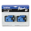 TC Tape Cartridges for P-Touch Labelers, 1/2w, Black on Clear, 2/Pack