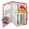 """3"""" Expansion Folders with 2/5 Cut Tab, Letter, Eight-Section, Bright Red, 10/Box"""