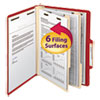 Top Tab Classification Folder, Two Dividers, Six-Section, Letter, Red, 10/Box