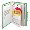 Top Tab Classification Folder, Two Dividers, Six-Section, Letter, Green, 10/Box