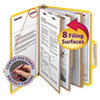 """3"""" Expansion Classification Folder, 2/5 Cut, Letter, 8-Section, Yellow, 10/Box"""