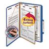Pressboard Classification Folders, Legal, Four-Section, Dark Blue, 10/Box