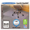 EverLife Chair Mats For Flat Pile Carpet, Rectangular, 36 x 44, Clear