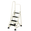 Stop-Step® Four-Step Folding Aluminum Handrail Ladder, Beige