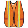"Orange Safety Vest, 2"" Reflective Strips, Polyester, Side Straps, One Size"