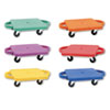 Scooter Set wSwivel Casters, Plastic/Rubber, 12 x 12, Assorted Colors, 6/Set