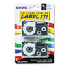 Tape Cassettes for KL Label Makers, 18mm x 26ft, Blue on White, 2/Pack