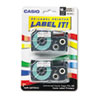 Tape Cassettes for KL Label Makers, 18mm x 26ft, Black on Clear, 2/Pack