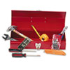 16-Piece Light-Duty Office Tool Kit, Metal Box, Red