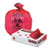 "Health Care Trash Can Liners, 33 gal, 1.3 mil, 33"" x 39"", Red, 150/Carton"