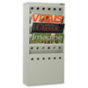 Onyx Steel Magazine Rack, Five Compartments, 10w x 4d x 20-1/2h, Gray