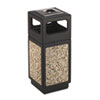 Canmeleon Ash/Trash Receptacle, Square, Aggregate/Polyethylene, 15gal, Black