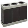 At-Your-Disposal Recycling Center, Polyethylene, Three 28gal Bins, Black