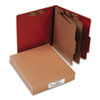 Pressboard 25-Pt. Classification Folder, Letter, Six-Section, Earth Red, 10/Box