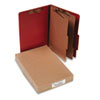 Pressboard 25-Pt. Classification Folder, Legal, Six-Section, Earth Red, 10/Box