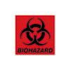 Biohazard Decal, 5-3/4 x 6, Fluorescent Red