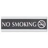 Century Series Office Sign, NO SMOKING, 9 x 3, Black/Silver
