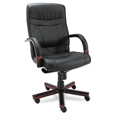 Alera(R) Madaris Series High-Back Knee Tilt Leather Chair with Wood Trim