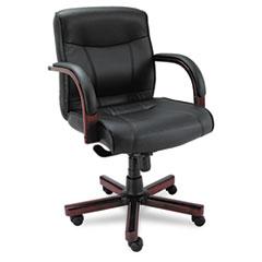 Alera(R) Madaris Series Mid-Back Knee Tilt Leather Chair with Wood Trim