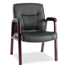 Alera(R) Madaris Series Leather Guest Chair with Wood Trim Legs
