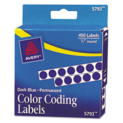 Avery(R) Handwrite-Only Self-Adhesive Removable Round Color-Coding Labels in Dispensers