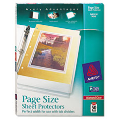 Avery(R) Page Size Heavyweight Three-Hole Punched Diamond Clear Sheet Protector
