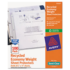 Avery(R) Recycled Economy Weight Clear and Semi Clear Sheet Protector