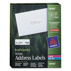 EcoFriendly Mailing Labels, Inkjet/Laser Printers, 1 x 2.63, White, 30/Sheet, 250 Sheets/Box