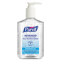 Advanced Instant Hand Sanitizer, Refreshing Gel, 8 oz. Pump Bottle