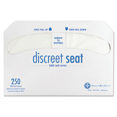 Discreet Half-Fold Toilet Seat Covers, White, 250/Pack, 20 Packs/Carton