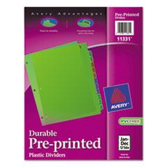 Avery(R) Preprinted Plastic Tab Dividers