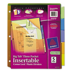Avery(R) Insertable Big Tab(TM) Plastic Three-Pocket Corner Lock(TM) Dividers