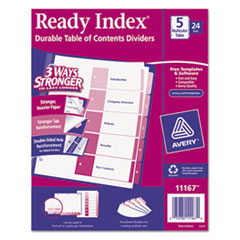 Avery(R) Ready Index(R) Customizable Table of Contents Uncollated Multicolor Dividers