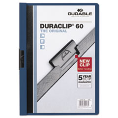 Vinyl DuraClip Report Cover, Letter, Holds 60 Pages, Clear/Dark Blue, 25/BX