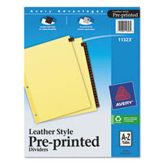 Avery(R) Preprinted Red Leather Tab Dividers with Clear Reinforced Binding Edge