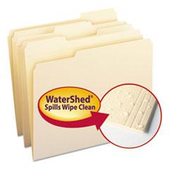 WaterShed File Folders, 1/3 Cut Top Tab, Letter, Manila, 100/Box