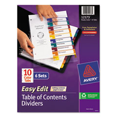 Avery(R) Ready Index(R) Customizable Easy Edit Table of Contents Multicolor Dividers