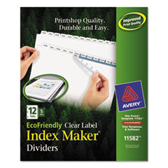 Avery(R) Index Maker(R) EcoFriendly Print & Apply Clear Label Dividers with White Tabs