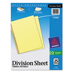 Avery(R) Untabbed Division Sheet Dividers