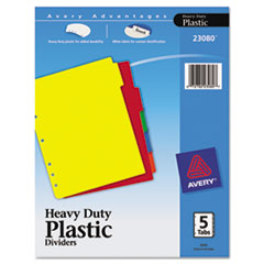 Avery(R) Write-On Heavy-Duty Plastic Tab Dividers with White Labels