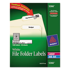 Avery Permanent Self-Adhesive Laser/Inkjet File Folder Labels