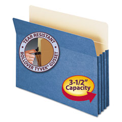 "3 1/2"" Exp Colored File Pocket, Straight Tab, Letter, Blue"