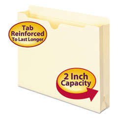 "Manila File Jackets, 2"" Exp, Letter, 11 Point, Manila, 50/Box"