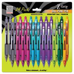 Z-Grip Retractable Ballpoint Pen, Assorted Ink, Medium Point, 24/Set
